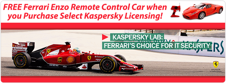 Free Ferarri Enzo Remote Control Car when you Purchase Select Kaspersky Licensing!